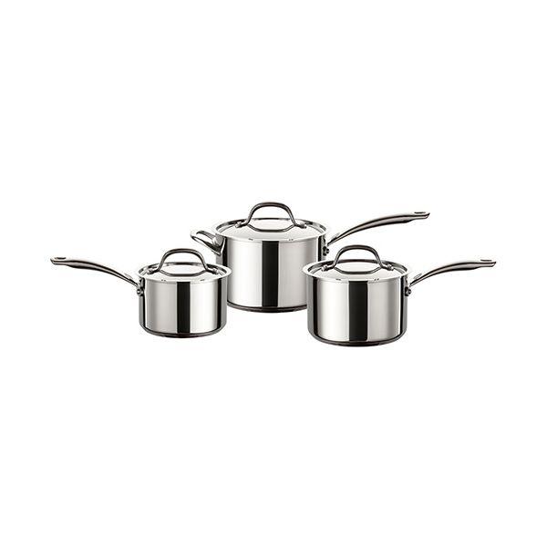 Circulon Ultimum Stainless Steel 3 Piece Saucepan Set