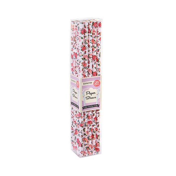 Eddingtons Paper Straws Floral Pink 25 Pack