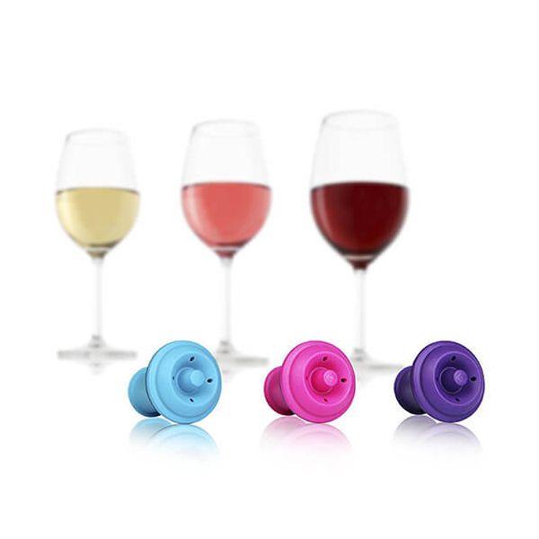 Vacu Vin Wine Stoppers Pink / Blue / Purple Set Of 3