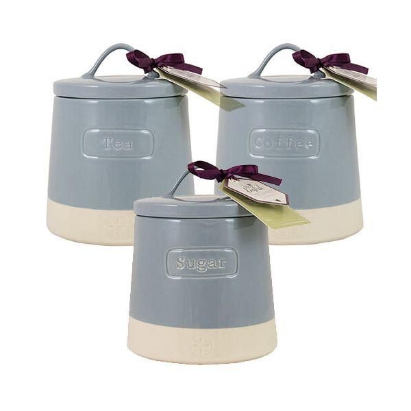 English Tableware Company Artisan Blue Tea, Coffee & Sugar Canister 3 Piece Set