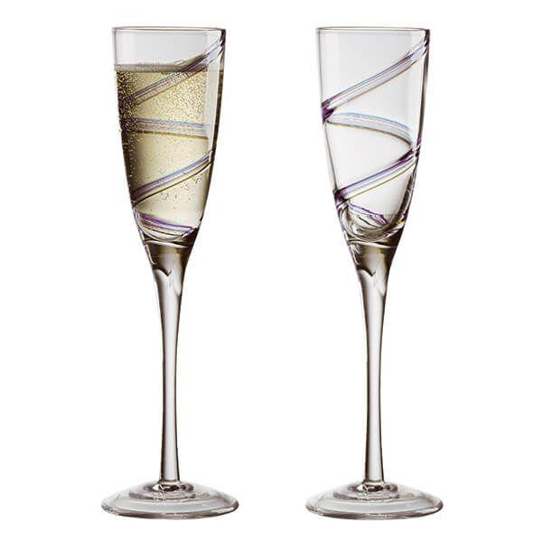 Anton Studios Set of 2 Arc Champagne Flutes