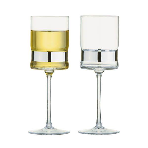 Anton Studios Set of 2 SoHo Wine Glasses Silver