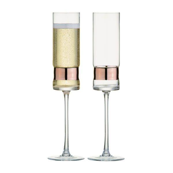 Anton Studios Set of 2 SoHo Champagne Flutes Bronze
