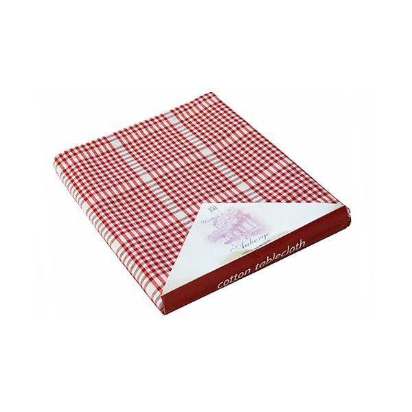 Walton & Co Auberge Gingham Tablecloth 172cm Round Red