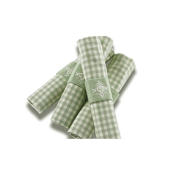 Walton & Co Auberge Gingham Napkins (Set Of 4) Duck Egg Green