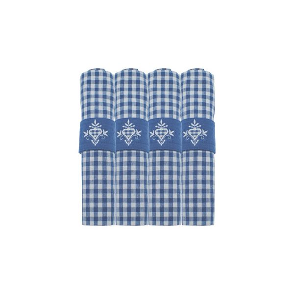 Walton & Co Auberge Gingham Napkins (Set Of 4) Nordic Blue