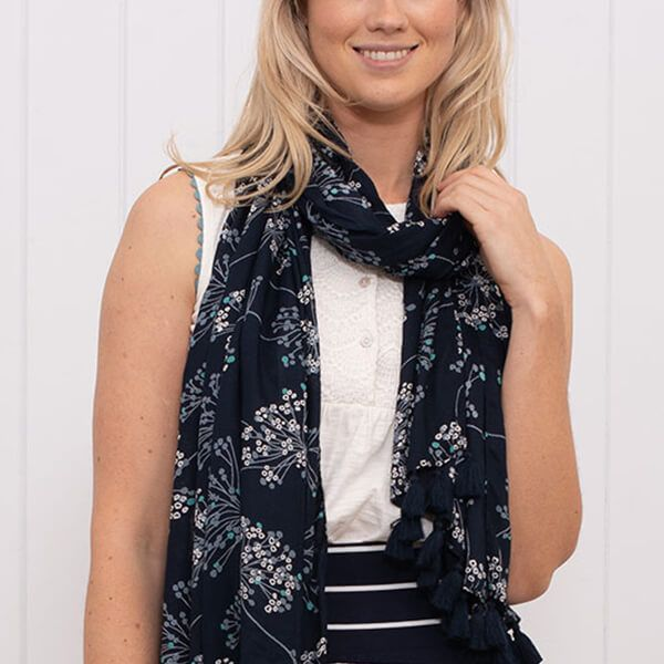 Brakeburn Navy Cow Parsley Tassel Scarf
