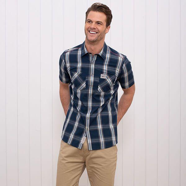 Brakeburn Short Sleeve Check Shirt Navy