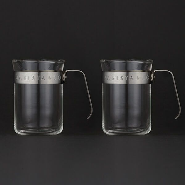 Barista & Co Beautifully Crafted Metal Frame Glass Coffee Cups Steel Set of two