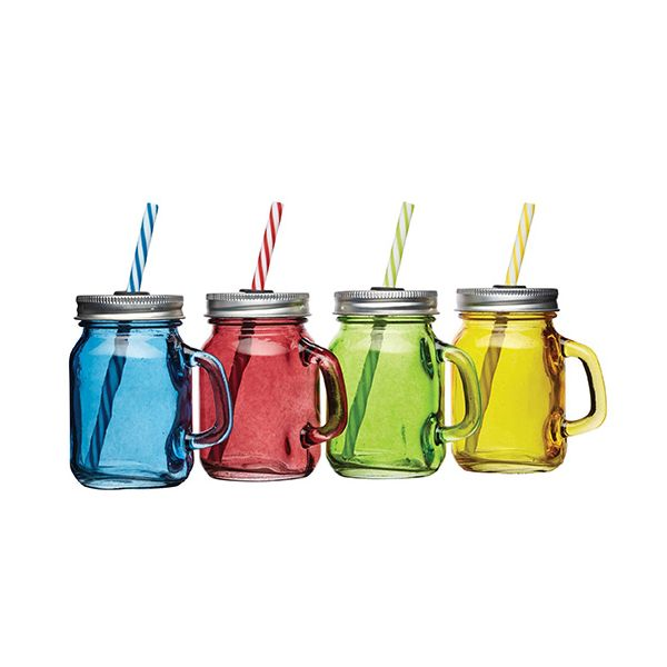 BarCraft Set Of 4 Mini Drinks Jars With Straws
