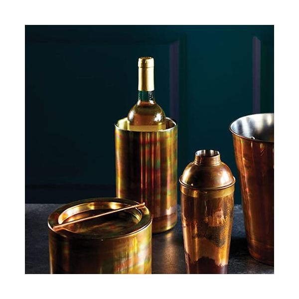 BarCraft Double Walled Swirling Copper Finish Wine Cooler