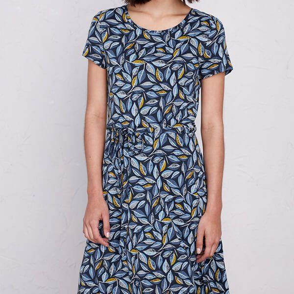 Seasalt Overprinting Dress Embroidered Leaves Skipper Size 14