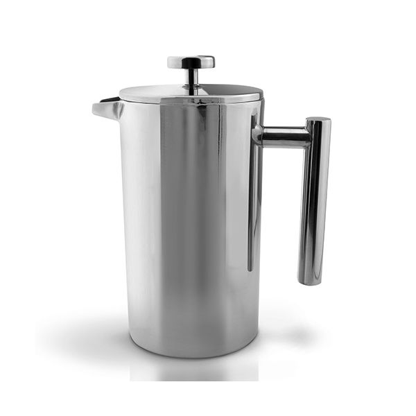 Grunwerg Double-wall Polished Straight Sided Cafetiere 8 Cup