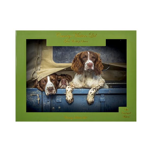 Country Matters Spaniels in Landy Glass Work Top Saver