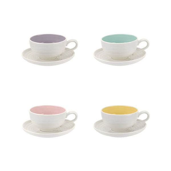 Sophie Conran Colour Pop Set Of 4 Tea Cup & Saucer Assorted Colours