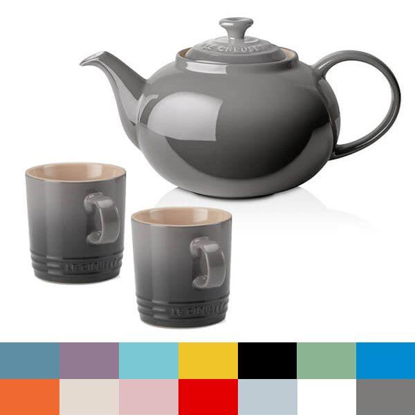 Le Creuset Flint Classic Teapot and Mug Set