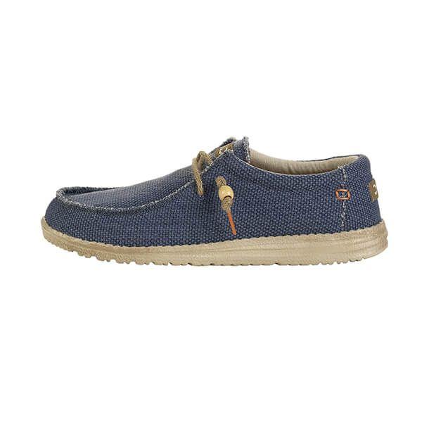 Dude Shoes Wally Natural Navy Organic Cotton