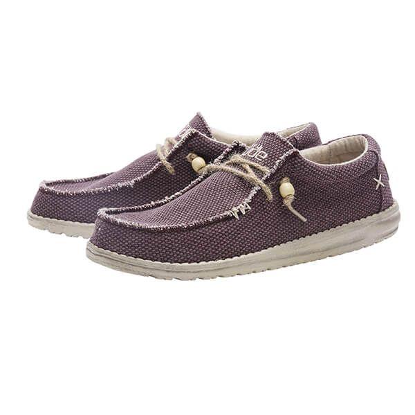 Dude Shoes Wally Natural Burgundy Organic Cotton Size UK6 / EU40