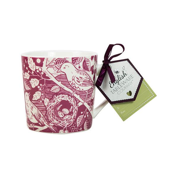 English Tableware Company Artisan Fine China Raspberry Blackbird Mug