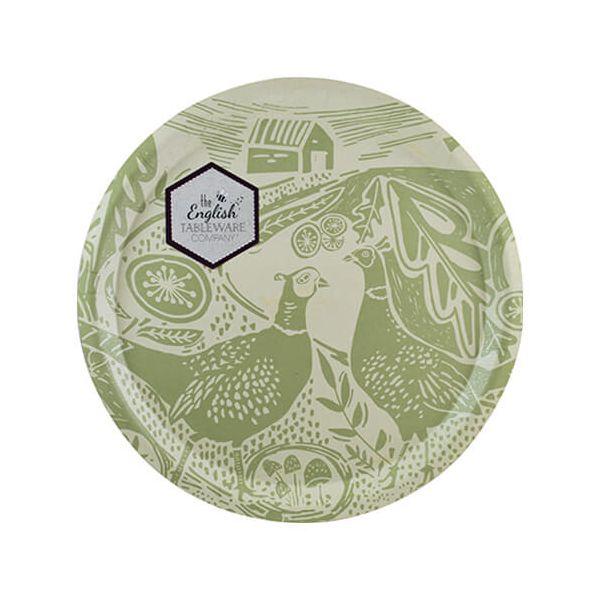English Tableware Company Artisan Green Pheasant Round Tray