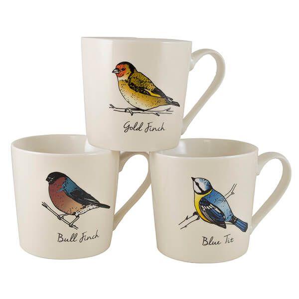 English Tableware Company British Birds Cream Mugs Set Of 3