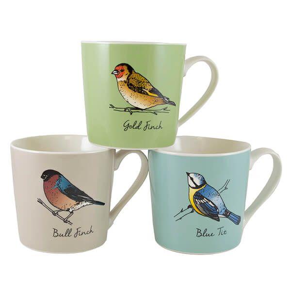 English Tableware Company British Birds Coloured Mugs Set Of 3