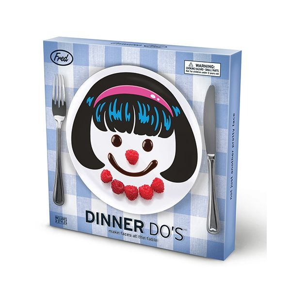 Fred Dinner Do's Girls Childrens Set Of 3 Dinner Plate