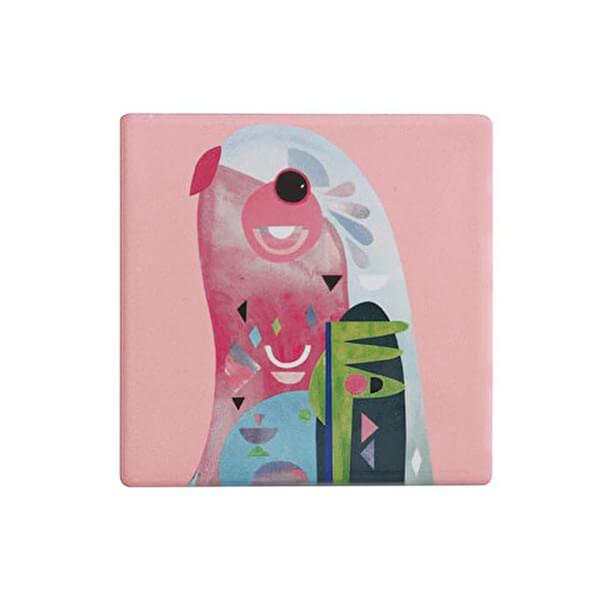 Maxwell & Williams Pete Cromer Ceramic Square 9.5cm Coaster Parrot
