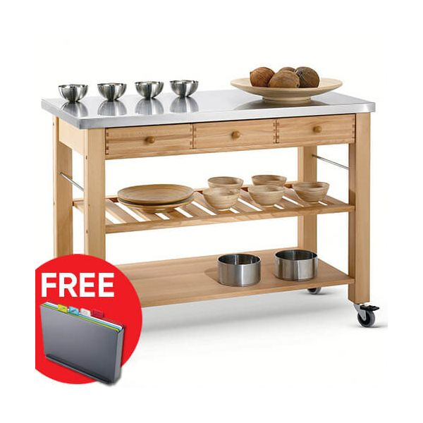 Eddingtons Lambourn Three Drawer With A Stainless Steel Top Kitchen Trolley with FREE Gift