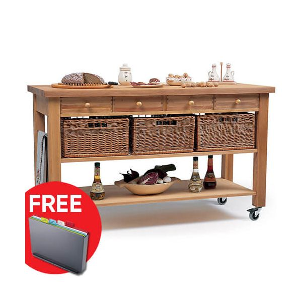 Eddingtons Lambourn Four Drawer Kitchen Trolley with FREE Gift