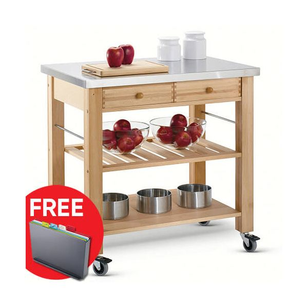 Eddingtons Lambourn Two Drawer With A Stainless Steel Top Kitchen Trolley with FREE Gift