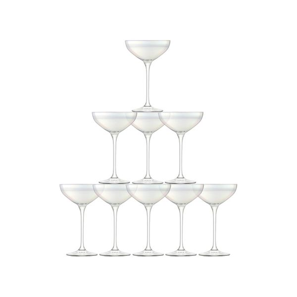 LSA Tower Champagne Saucer Set Mother Of Pearl 10 Piece