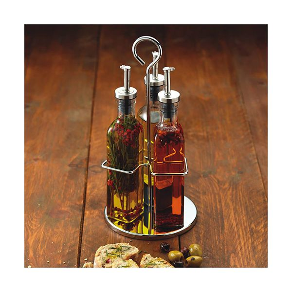 World of Flavours Italian Three Bottle Glass Oil and Vinegar Set