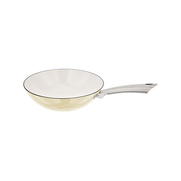 Stellar Easy Lift Cast Iron 30cm Wok Cream