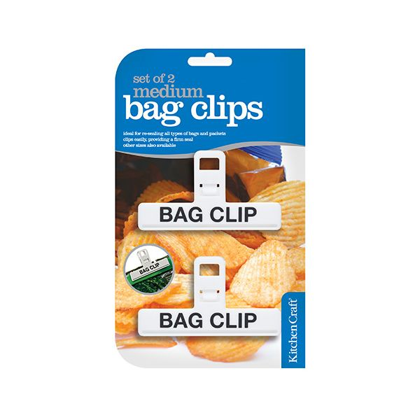 KitchenCraft Set of Two Medium Plastic Bag Clips