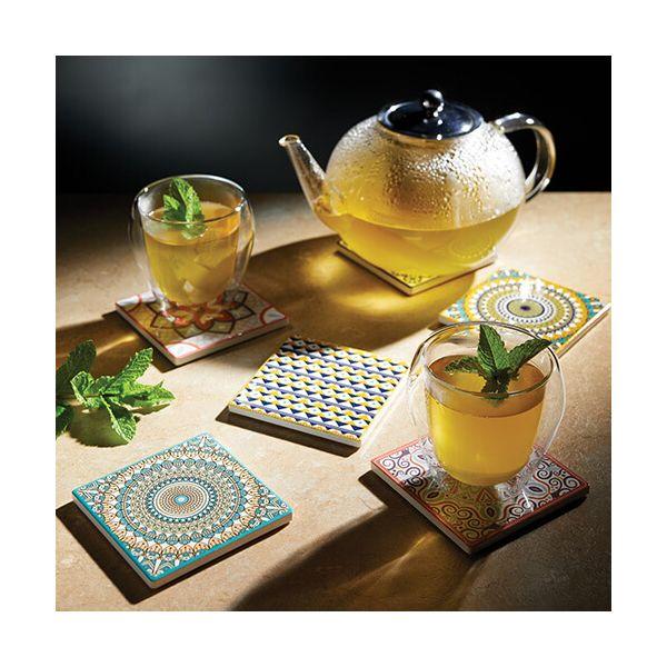 KitchenCraft Moroccan Inspired Green Mandala Cork Back Ceramic Coaster