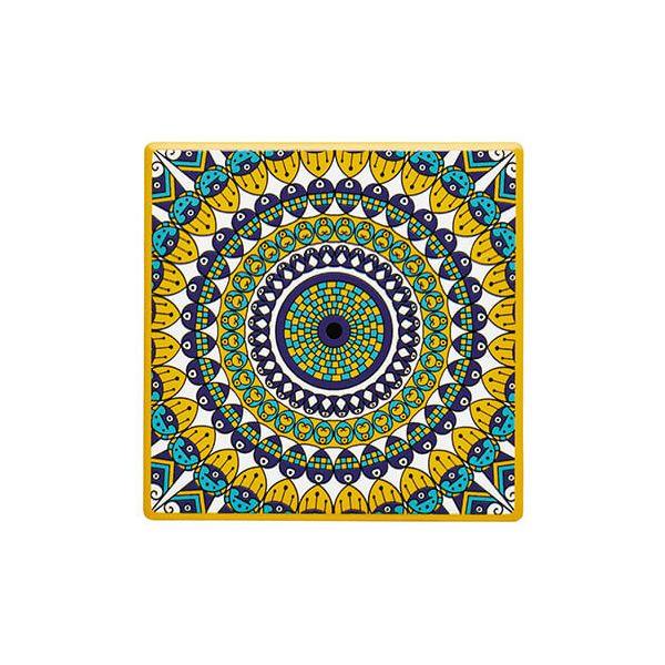 KitchenCraft Moroccan Inspired Mustard Mandala Cork Back Ceramic Coaster