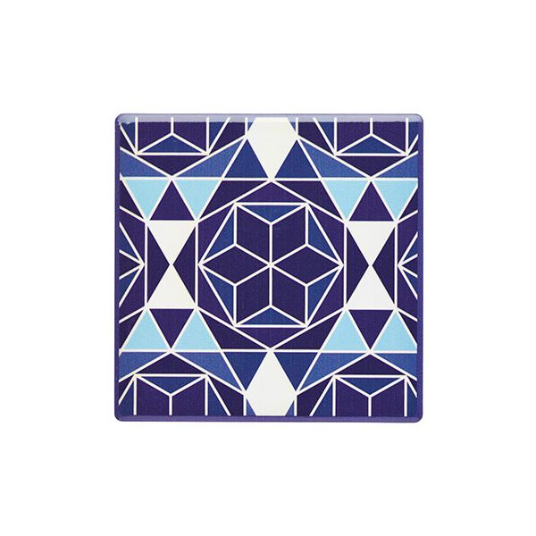 KitchenCraft Moroccan Inspired Blue Geo Cork Back Ceramic Coaster