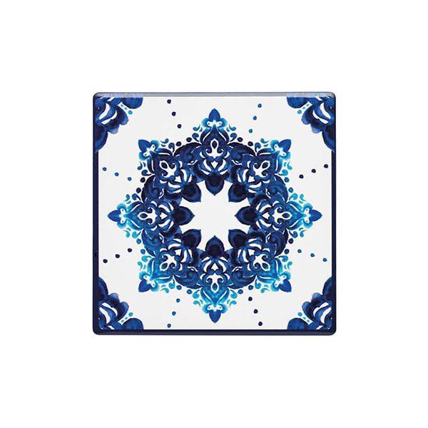 KitchenCraft Moroccan Inspired Blue Motif Cork Back Ceramic Coaster