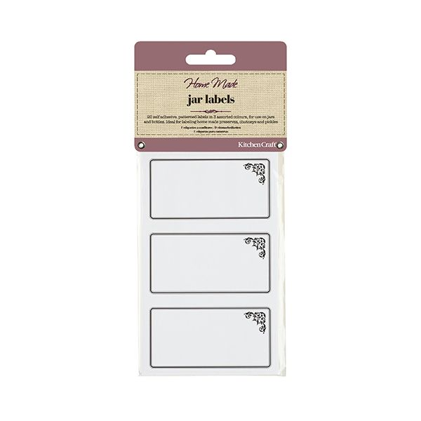 Home Made Pack of Twenty Self Adhesive Jam Jar Labels - Monochrome