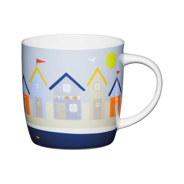 KitchenCraft China 425ml Barrel Shaped Mug, Beach Huts