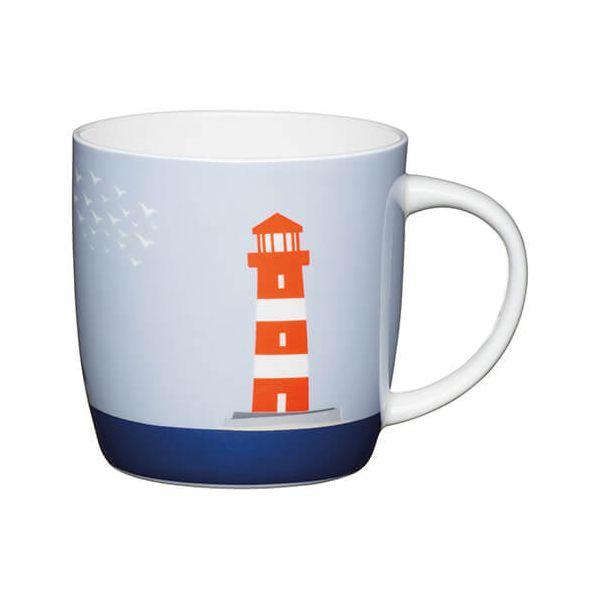 KitchenCraft China 425ml Barrel Shaped Mug, Lighthouse