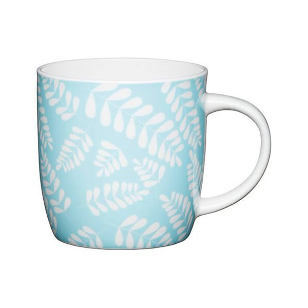 KitchenCraft China 425ml Barrel Shaped Mug, Blue Leaf