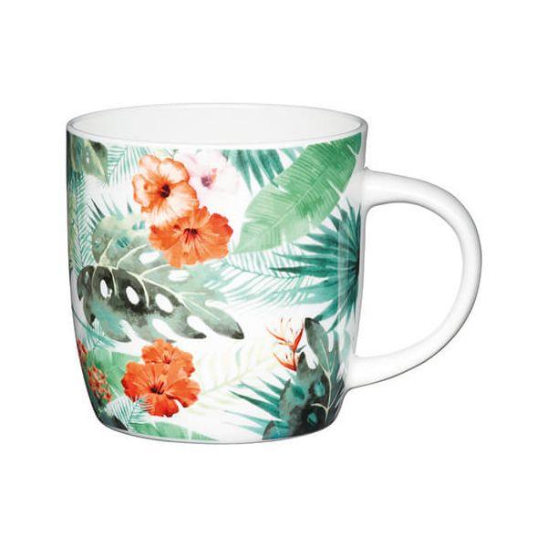 KitchenCraft China 425ml Barrel Shaped Mug, Palm Leaf