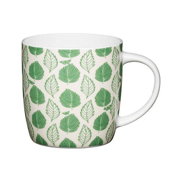 KitchenCraft China 425ml Barrel Shaped Mug, Green Leaf
