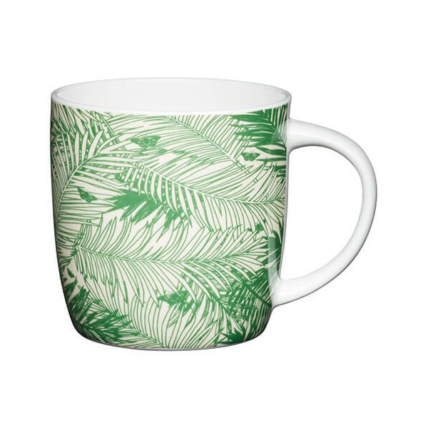 KitchenCraft China 425ml Barrel Shaped Mug, Palms
