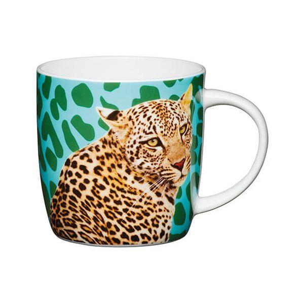 KitchenCraft China 425ml Barrel Shaped Mug, Leopard