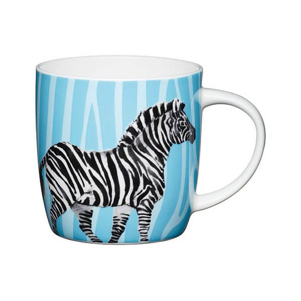KitchenCraft China 425ml Barrel Shaped Mug, Zebra