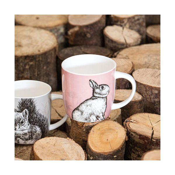 KitchenCraft China 425ml Barrel Shaped Mug, Rabbit