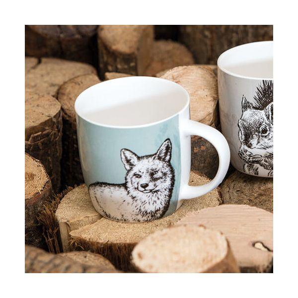 KitchenCraft China 425ml Barrel Shaped Mug, Fox